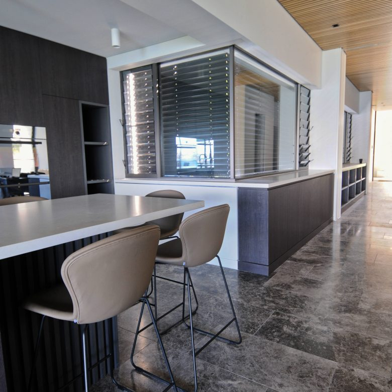 Custom kitchen area from different perspective